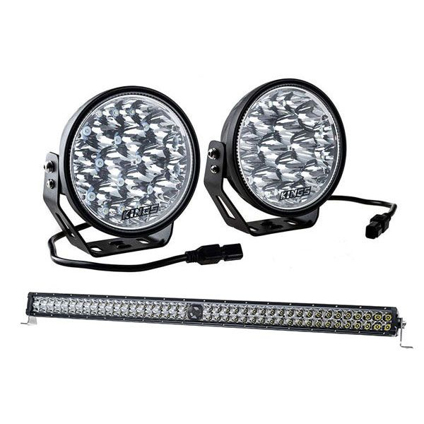 "Kings Domin8r Xtreme 7"" LED Driving Lights + 40"" Laser Light Bar"