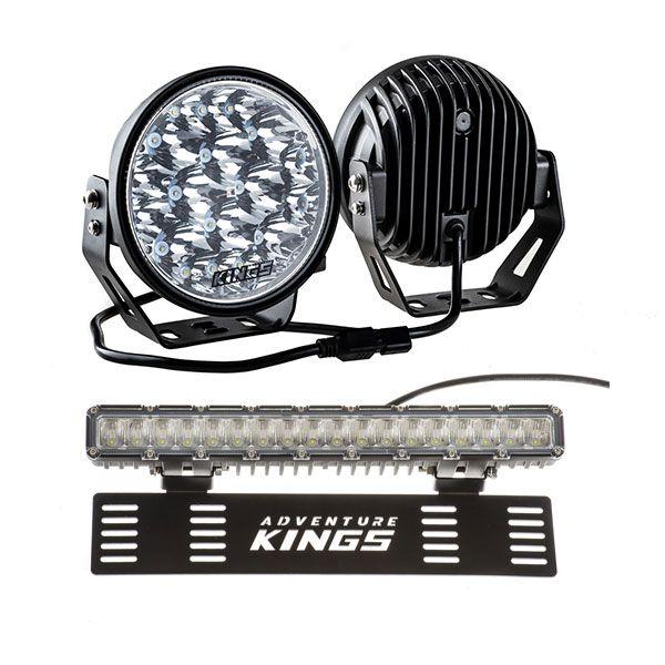 "Kings 7"" LED Driving Lights (Pair) + 15"" Numberplate LED Light Bar"