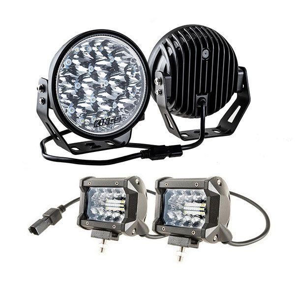 """Kings 7"""" LED Driving Lights (Pair) + 4"""" LED Light Bar"""