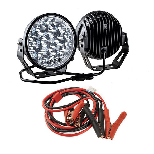 "Kings 7"" LED Driving Lights (Pair) + Heavy-Duty Jumper Leads"