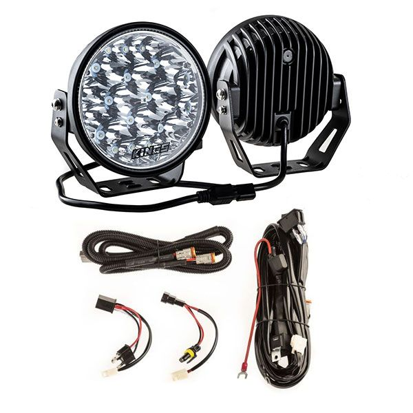 "Kings 7"" LED Driving Lights (Pair) + Plug N Play Smart Wiring Harness Kit"