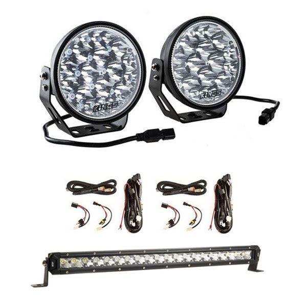 "Kings 7"" Laser Driving Lights (Pair) + 20"" LETHAL MKIII Slim Line LED Light Bar + 2 x Smart Harness"