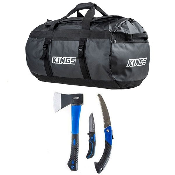 Kings 80L Extra-Large PVC Duffle Bag + Three Piece Axe, Folding Saw and Knife Kit