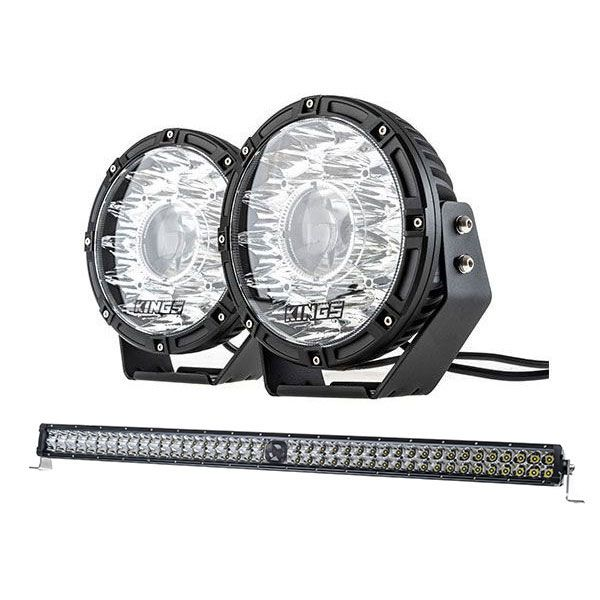 "Kings 8.5"" Laser MKII Driving Lights (pair) + Kings 40"" Laser Light Bar"