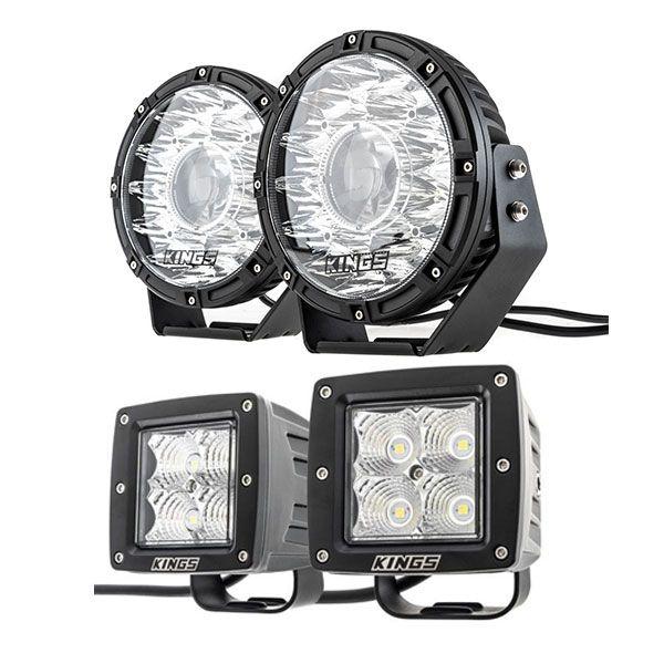 "Kings 8.5"" Laser MKII Driving Lights (pair) + 3"" LED Work Light - Pair"