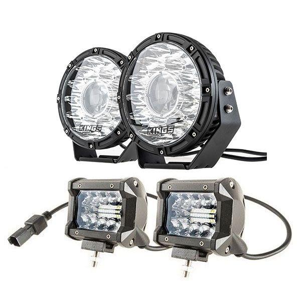 "Kings 8.5"" Laser MKII Driving Lights (pair) + 4"" LED Light Bar (Pair)"