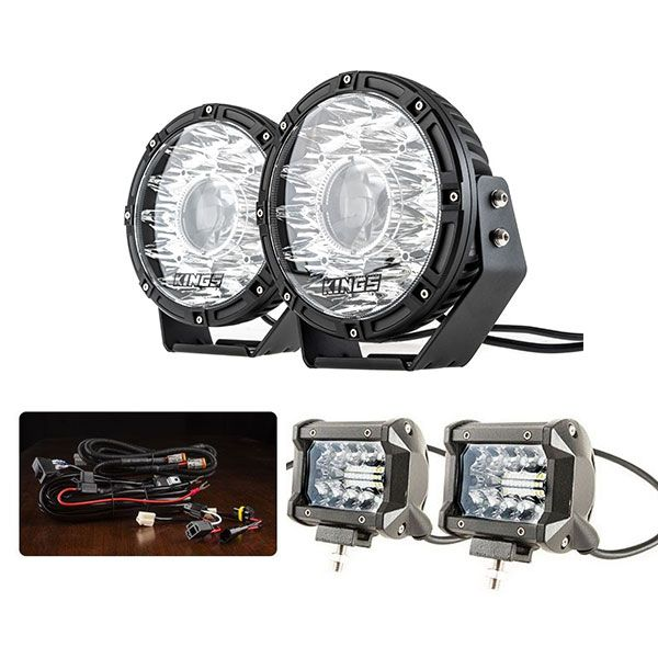 "Kings 8.5"" Laser MKII Driving Lights (pair) + Plug N Play Smart Wiring Harness Kit + 4inch LED Light Bar (Pair)"