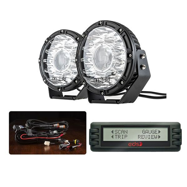 """Kings 8.5"""" Laser MKII Driving Lights (pair) + Smart Harness + Engine Data Scan Computer"""