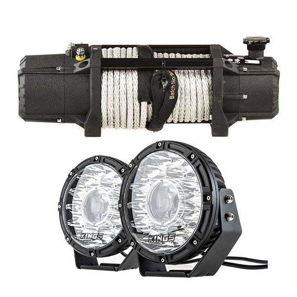 "Domin8r Xtreme 12,000lb Winch + Kings 8.5"" Laser MKII Driving Lights (pair)"