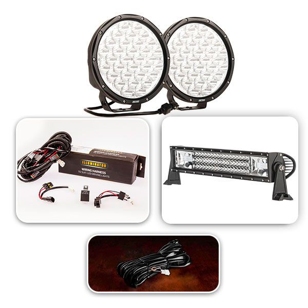 "Pair of 9"" Driving Lights, 22"" Light Bar Complete Pack