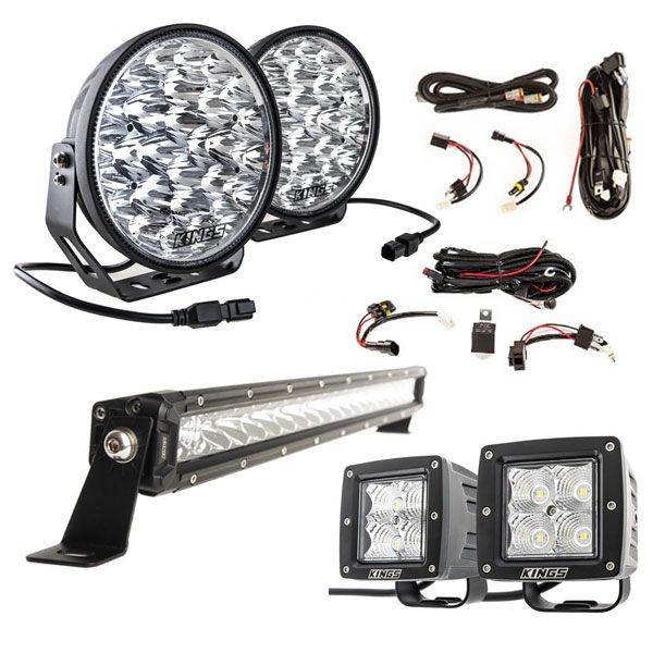"Adventure Kings Domin8r Xtreme 9"" LED Driving Lights (Pair) + 20"" LETHAL MKIII Slim Line LED Light Bar + Plug N Play Harness + Light Bar Wiring Harness + 3"" LED Work Light - Pair"