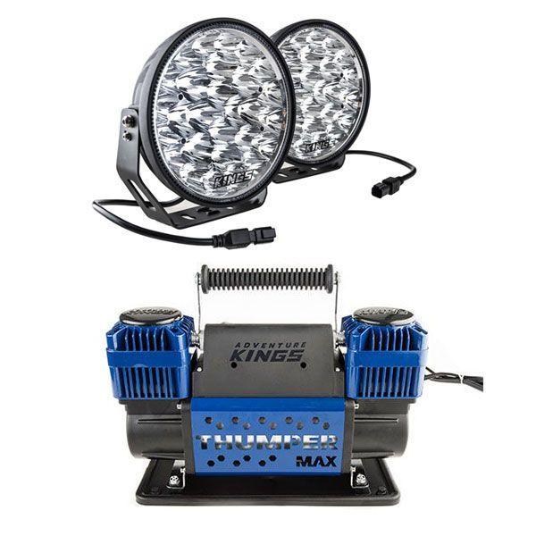 "Adventure Kings Domin8r Xtreme 9"" LED Driving Lights (Pair) + Thumper Max Dual Air Compressor MkII"