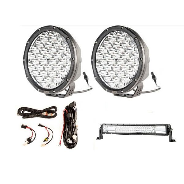 "9"" Slim Line LED Driving Lights + Domin8r 22"" LED Light Bar + Smart Harness"
