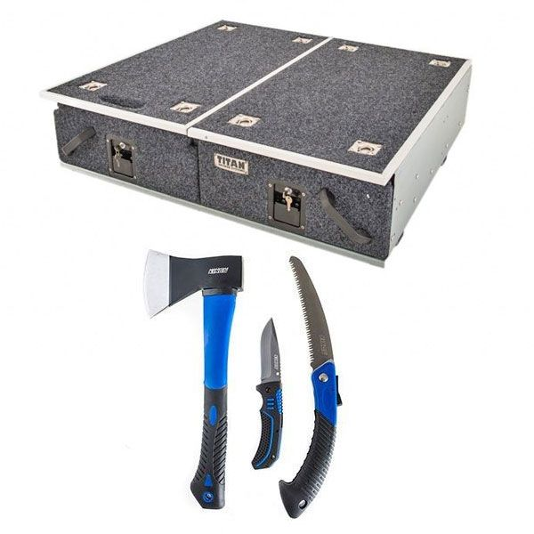 Titan Drawer System - 900mm + Kings Three Piece Axe, Folding Saw and Knife Kit