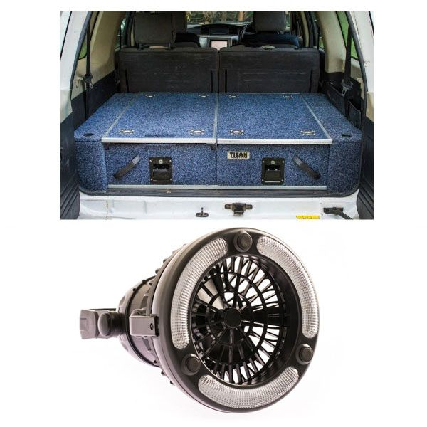 900mm Titan Rear Drawers suitable for smaller wagons + 2in1 LED Light & Fan