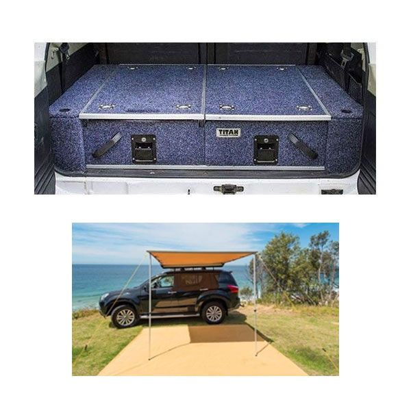 Titan Rear Drawer with Wings Suitable for Toyota 120 Series Prado GXL + Adventure Kings Awning 2.5x2.5m