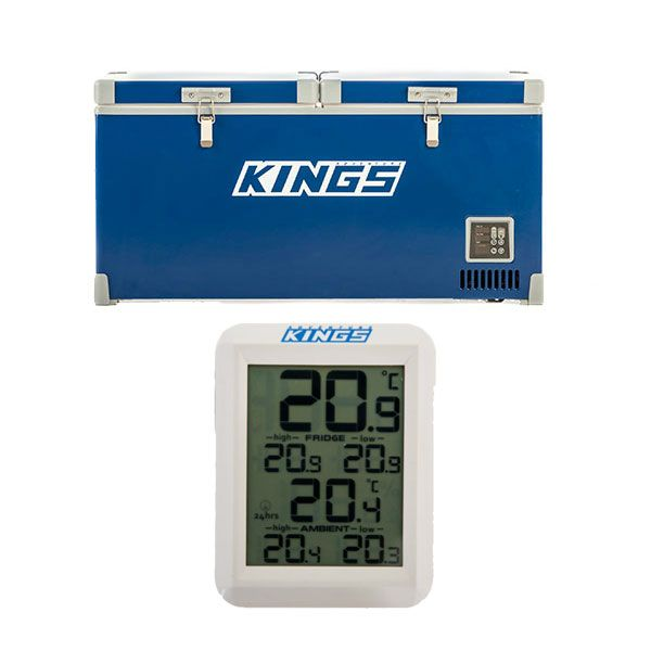 Kings 90L Camping Fridge Freezer | Dual Zone + Wireless Fridge Thermometer