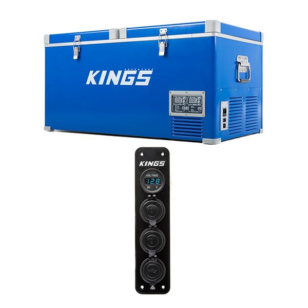 Kings 90L Camping Fridge Freezer + 12V Accessory Panel