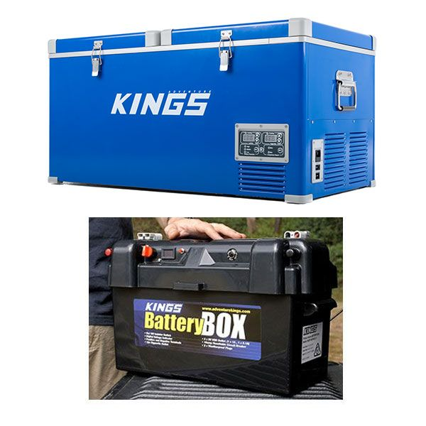 Kings 90L Camping Fridge Freezer + Maxi Battery Box