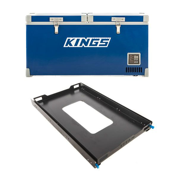 Kings 90L Camping Fridge Freezer | Dual Zone + Titan 100L Fridge Slide