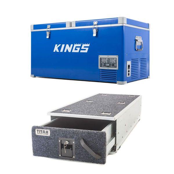 Kings 90L Camping Fridge Freezer + Titan Single Ute Drawer 1300mm