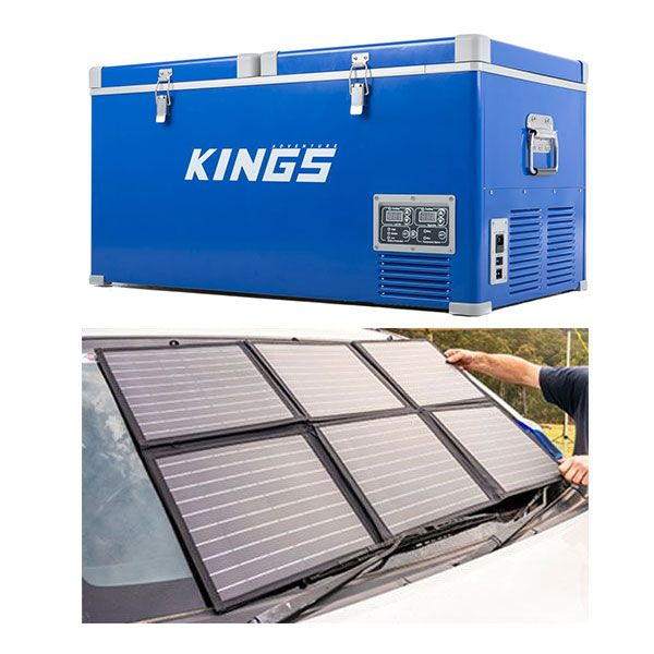 Kings 90L Camping Fridge Freezer | Dual Zone + 120w Solar Blanket