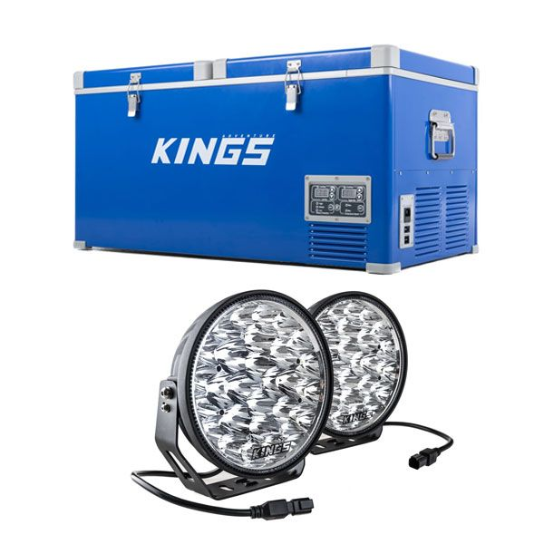 "Kings 90L Camping Fridge Freezer + Kings Domin8r Xtreme 9"" LED Driving Lights (Pair)"