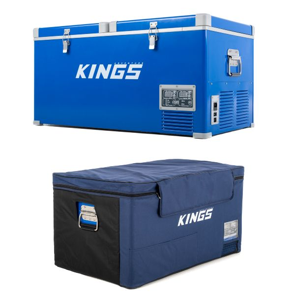 Kings 90L Camping Fridge Freezer + 90L Fridge Cover