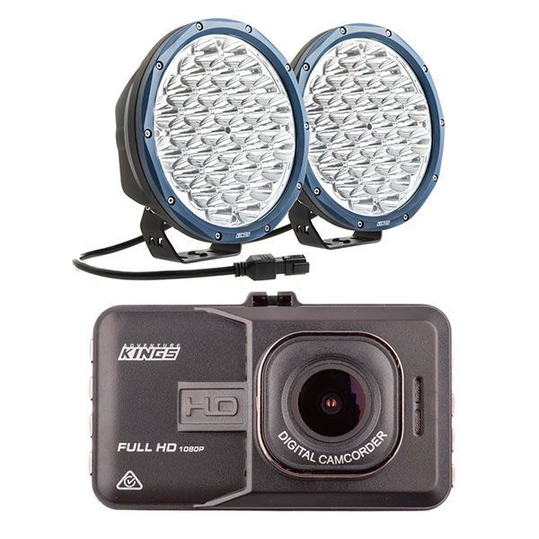 "Kings Domin8r X 9"" Driving Lights fitted with OSRAM LEDs (Pair) + Adventure Kings Dash Camera"