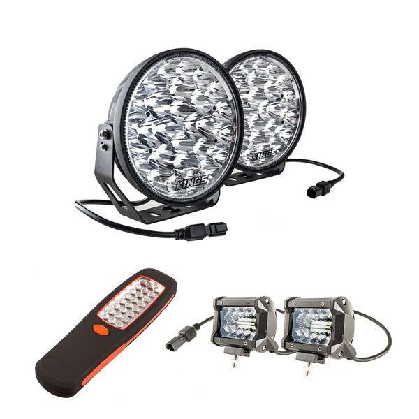 "Adventure Kings Domin8r Xtreme 9"" LED Driving Lights (Pair) + Adventure Kings 4"" LED Light Bar + Illuminator 24 LED Work Light"