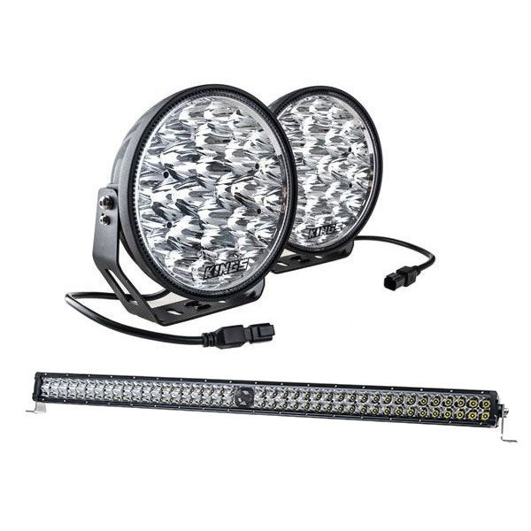 "Kings Domin8r Xtreme 9"" LED Driving Lights (Pair) + 40"" Laser Light Bar"