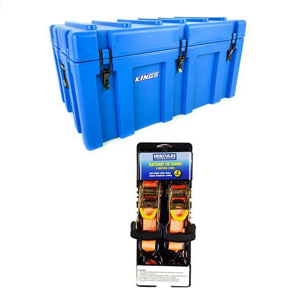 Adventure Kings 156L Storage Box + Hercules Heavy Duty 3m Ratchet Strap (2 pack)