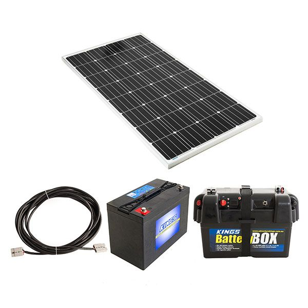 Adventure Kings 160w Fixed Solar Panel + 10m Lead For Solar Panel Extension + AGM Deep Cycle Battery 115AH + Battery Box