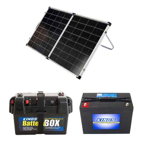 Kings Premium 160w Solar Panel with MPPT Regulator + Battery Box + AGM Deep Cycle Battery 98AH