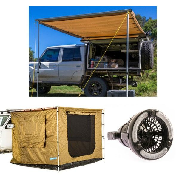 Adventure Kings 2 x 3m Awning Tent + Adventure King 2x3m Awning + Adventure Kings 2in1 LED Light & Fan