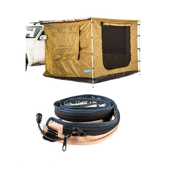 Adventure Kings 2 x 3m Awning Tent + LED Strip Light