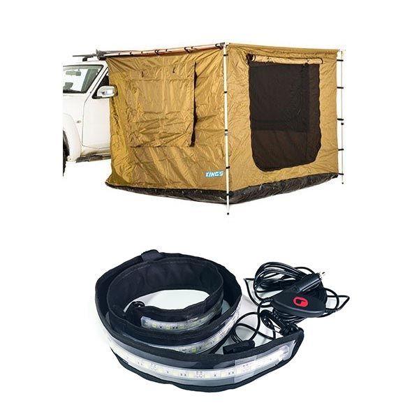 Adventure Kings 2.5 x 2.5m Awning Tent + Illuminator MAX LED Strip Light