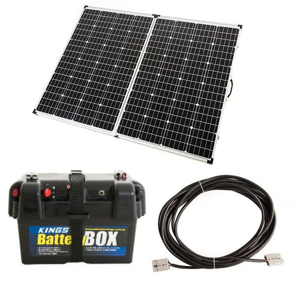 Adventure Kings 250W Solar Panel + Battery Box + 10m Lead For Solar Panel Extension