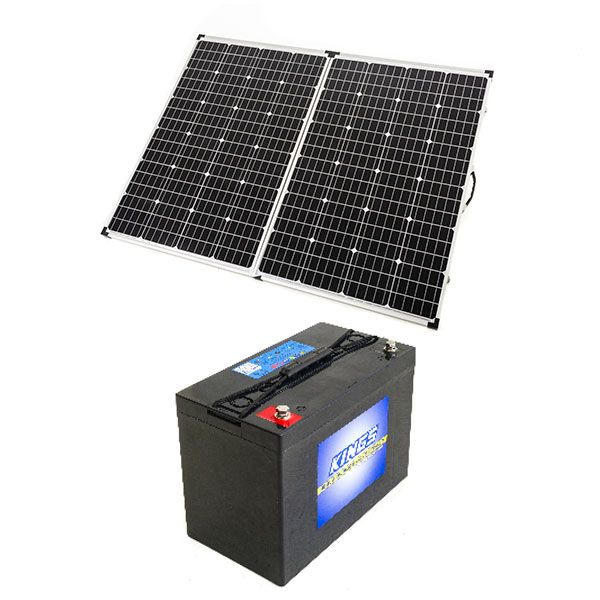 Adventure Kings 250w Solar Panel + AGM Deep Cycle Battery 115AH