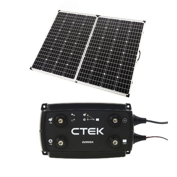 Adventure Kings 250w Solar Panel + CTEK D250SA DC/DC 20A Dual Battery System/Solar Controller