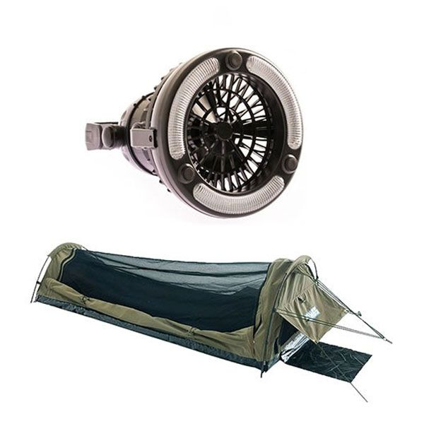 Adventure Kings 2in1 LED Light & Fan + Adventure Kings Single Swag - Kwiky