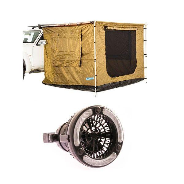 Adventure Kings 2m x 2.5m Awning Tent + Adventure Kings 2in1 LED Light & Fan