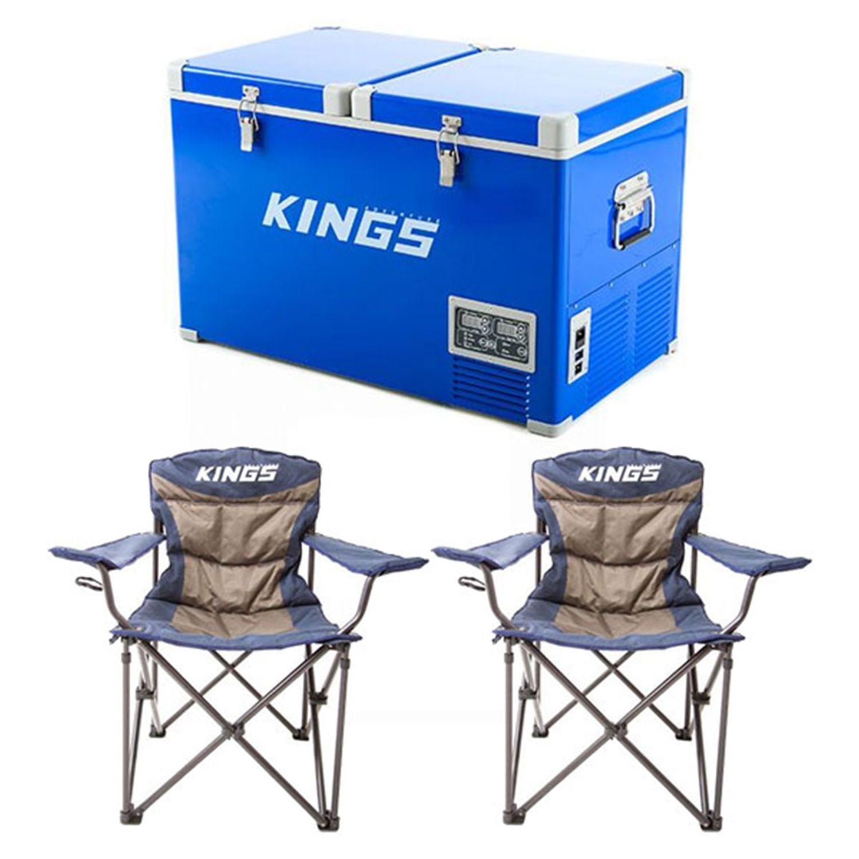 Adventure Kings 70L Camping Fridge/Freezer + 2x Adventure Kings Throne Camping Chair