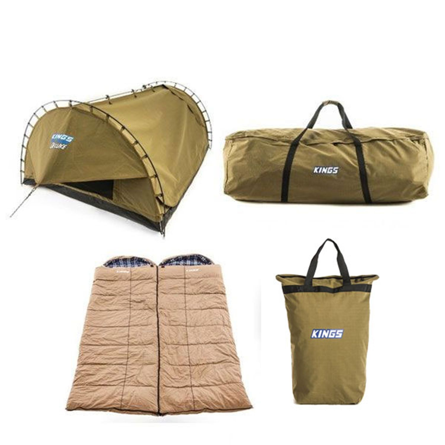 Adventure Kings 'Big Daddy' Deluxe Double Swag + 2x Premium Sleeping bag + Swag Canvas Bag + Doona/Pillow Canvas Bag