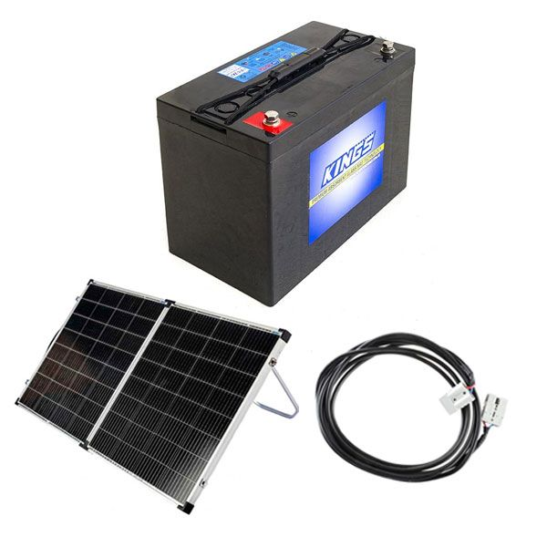 Adventure Kings AGM Deep Cycle Battery 115AH + Kings Premium 160w Solar Panel with MPPT Regulator + 10m Lead For Solar Panel Extension