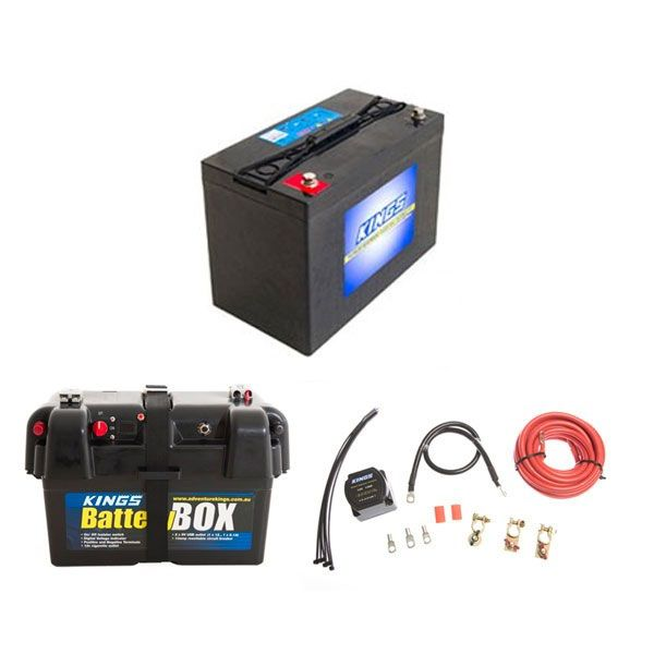 Adventure Kings AGM Deep Cycle Battery 115AH + Battery Box + Dual Battery System