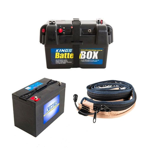 Adventure Kings AGM Deep Cycle Battery 115AH + Battery Box + Adventure Kings LED Strip Light