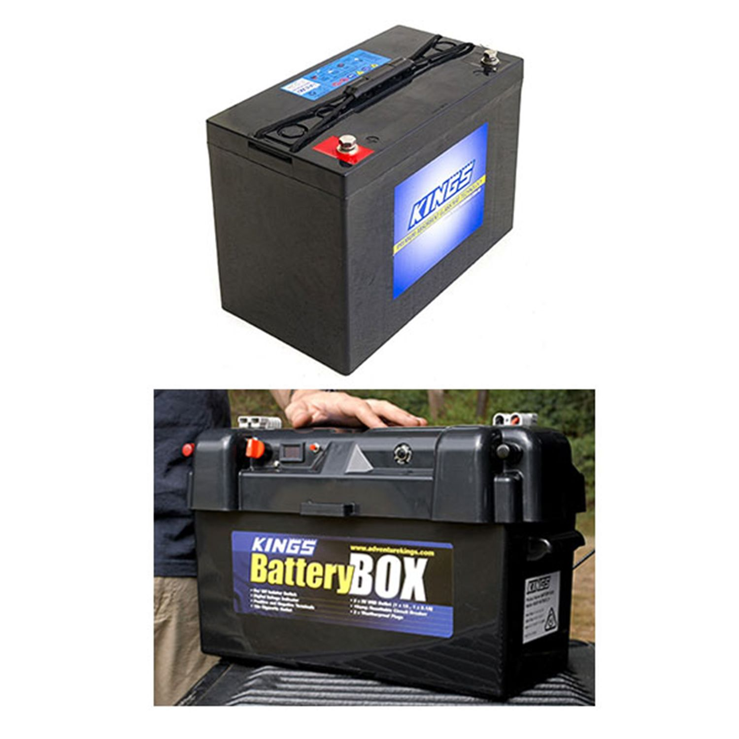 Adventure Kings AGM Deep Cycle Battery 115AH + Maxi Battery Box