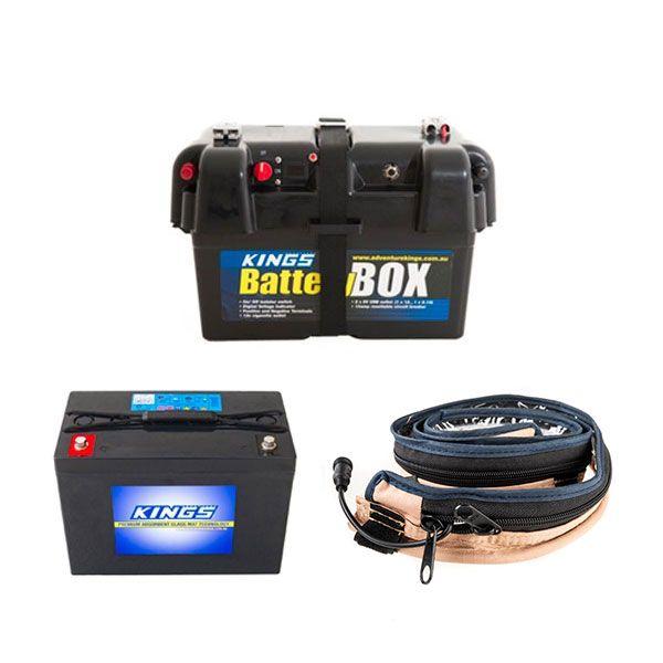 Adventure Kings AGM Deep Cycle Battery 98AH + Battery Box + Adventure Kings LED Strip Light