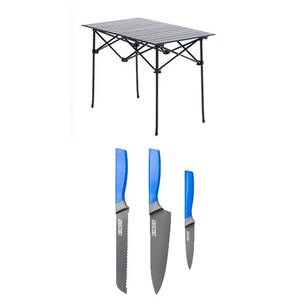 Adventure Kings Aluminium Roll Up Camping Table + 4-Piece Camping Chef's Knives Kit